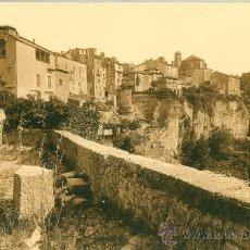 Postales: CUENCA. CASAS COLGADAS Y SAN MARTÍN. POSTAL TONOS MARRONES, C. 1930-1950. CU . Lote 23792657