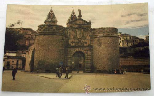 POSTAL TOLEDO PUERTA DE VISAGRA BISAGRA COLOR AÑOS 50 (Postales - España - Castilla la Mancha Moderna (desde 1940))