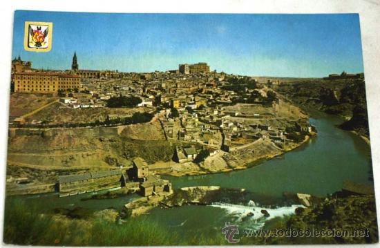 POSTAL TOLEDO VISTA PARCIAL DESDE ORILLA DEL TAJO ED DOMÍNGUEZ ESCUDO ORO 1967 (Postales - España - Castilla la Mancha Moderna (desde 1940))
