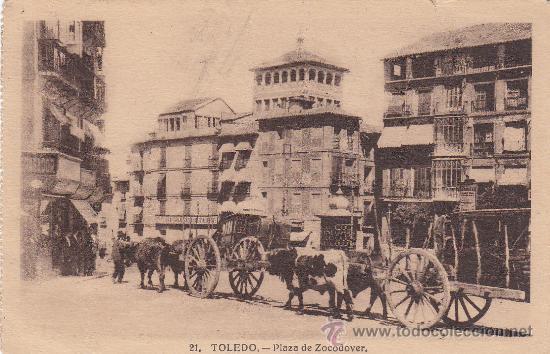 TOLEDO: PLAZA DE ZOCODOVER 1931 EN PRECIOSA TARJETA CIRCULADA A INGLATERRA: AMBULANTE NORTE EXPRES (Postales - España - Castilla La Mancha Antigua (hasta 1939))
