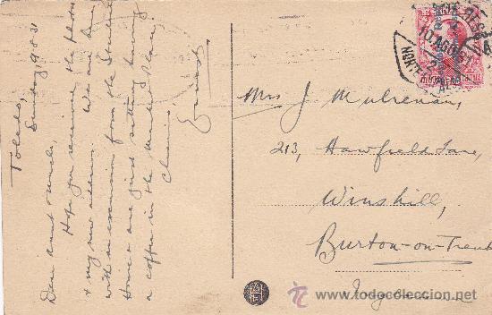Postales: TOLEDO: PLAZA DE ZOCODOVER 1931 EN PRECIOSA TARJETA CIRCULADA A INGLATERRA: AMBULANTE NORTE EXPRES - Foto 2 - 22799280