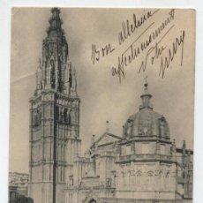 Postales: TOLEDO. VISTA GENERAL DE LA CATEDRAL. LACOSTE Nº 49. FRANQUEADO Y FECHADO 1905?. Lote 23290421