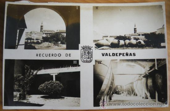 ANTIGUA FOTO POSTAL DE VALDEPEÑAS - CIUDAD REAL - 1. VISTA PANORAMICA, 2. RINCON DE LA POBLACION, 3. (Postales - España - Castilla La Mancha Antigua (hasta 1939))