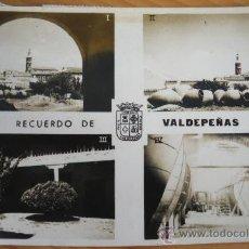 Postales: ANTIGUA FOTO POSTAL DE VALDEPEÑAS - CIUDAD REAL - 1. VISTA PANORAMICA, 2. RINCON DE LA POBLACION, 3.. Lote 24522019