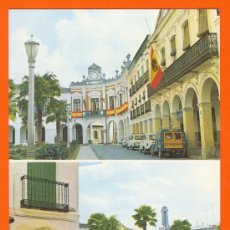Postales: MANZANARES. CIUDAD REAL. PLAZA DE JOSE ANTONIO Y AYUNTAMIENTO Y MONUMENTO A LOS CAIDOS.. Lote 26700307