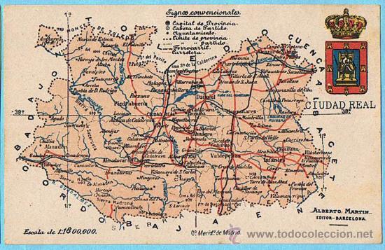 Mapa con escudo de la provincia de ciudad real comprar - Plano de ciudad real ...