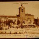 Postales: ANTIGUA POSTAL DE TOMELLOSO - CIUDAD REAL - IGLESIA, CASINO DE S. FERNANDO Y PLAZA DE LA CONSTITUCIO. Lote 26565602