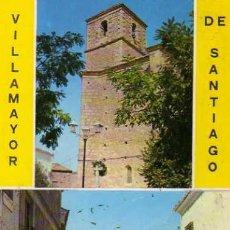 Postales: VILLAMAYOR DE SANTIAGO CUENCA IGLESIA PARROQUIAL Y CALLE MAYOR ESCRITA CIRCULADA SELLO 1976. Lote 31762283