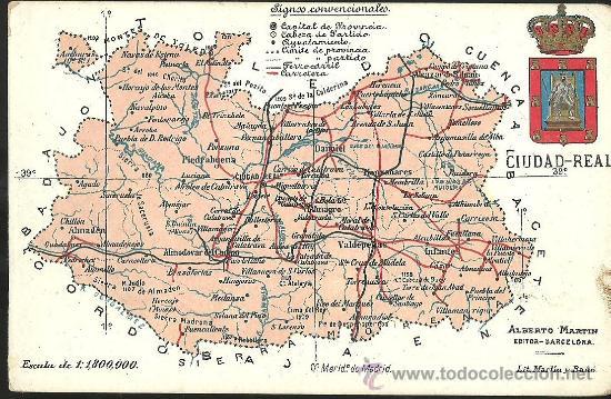 Tarjeta postal de ciudad real mapa almaden comprar - Plano de ciudad real ...