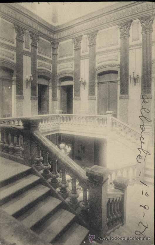 ALBACETE.- ESCALERA DE LA CASA AYUNTAMIENTO (Postales - España - Castilla La Mancha Antigua (hasta 1939))
