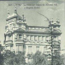 Postales: ALBACETE.- JARDINES DEL PASEO DE ALFONSO XII Y REGINA HOTEL. Lote 35990960