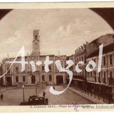 Postales: BONITA POSTAL - CIUDAD REAL - PLAZA DEL GENERALISIMO - AMBIENTADA - COCHE DE EPOCA . Lote 38197618