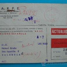 Postales: TARJETA POSTAL CERTIFICADA SARPE SUSCRIPCIONES, 2 JULIO 1954 FRANQUEO MECANICO. Lote 38187948