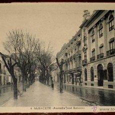 Postales: ANTIGUA POSTAL DE ALBACETE - AVENIDA DE JOSE ANTONIO - Nº 4 - NO CIRCULADA - ED. L. ROISIN.. Lote 39586109