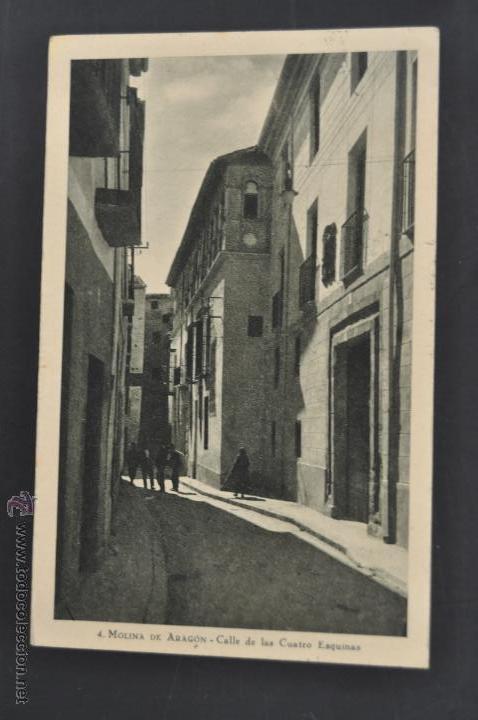 ANTIGUA POSTAL DE MOLINA DE ARAGÓN. GUADALAJARA. CALLE DE LAS CUATRO ESQUINAS. FOT. LEOPOLDO (Postales - España - Castilla La Mancha Antigua (hasta 1939))