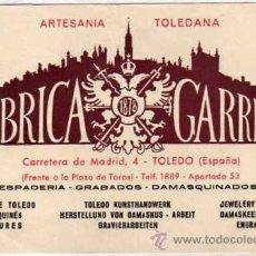 Postales: ARTESANIA TOLEDANA. FÁBRICA GARRIDO. TOLEDO. ESPADERÍA, GRABADOS, DAMASQUINADOS. SIN REVERSO.. Lote 45106416