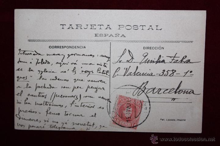 Postales: ANTIGUA POSTAL DE TOLEDO. SAN JUAN DE LOS REYES, FACHADA NORTE. FOTPIA. LACOSTE. CIRCULADA - Foto 2 - 48374209