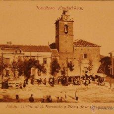 Postales: TOMELLOSO - IGLESIA Y CASINO DE SAN FERNANDO - FOTOGRAFIA IMPRESA SIN CIRCULAR Y DORSO DIVIDIDO. Lote 49183333
