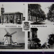 Cartes Postales: POSTAL DE VALDEPEÑAS (CIUDAD REAL). RECUERDO DE VALDEPEÑAS. AÑOS 50.. Lote 51799951