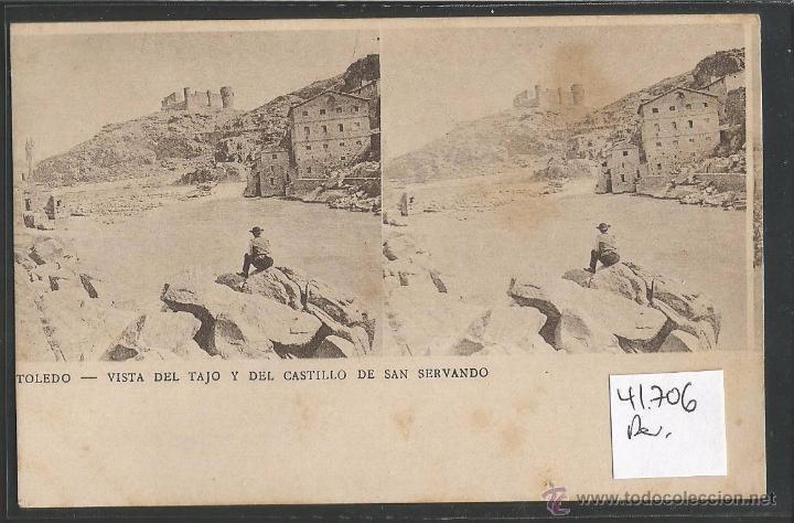 TOLEDO - EL TAJO Y DEL CASTILLO DE SAN SERVANDO - ESTEREOSCOPICA - VER REVERSO SIN DIVIDIR - (41706) (Postales - España - Castilla La Mancha Antigua (hasta 1939))