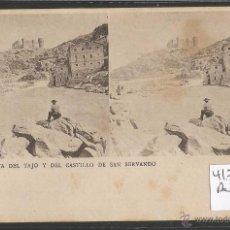 Postales: TOLEDO - EL TAJO Y DEL CASTILLO DE SAN SERVANDO - ESTEREOSCOPICA - VER REVERSO SIN DIVIDIR - (41706). Lote 54746749