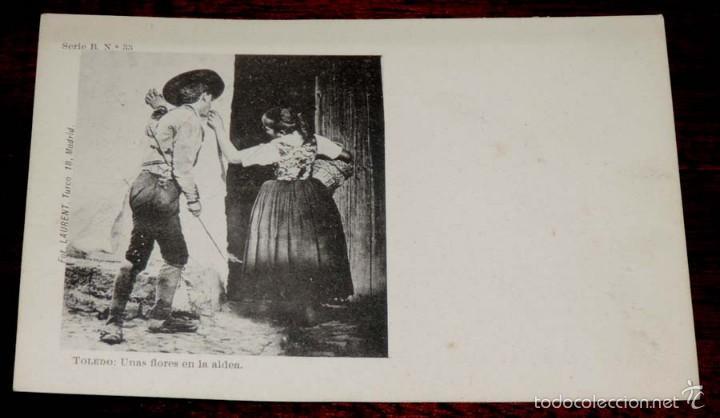 TOLEDO, UNAS FLORES EN LA ALDEA (CASTILLA LA NUEVA), FOT. LAURENT, SIGLO XIX SERIE B Nº 33, SIN CIRC (Postales - España - Castilla La Mancha Antigua (hasta 1939))