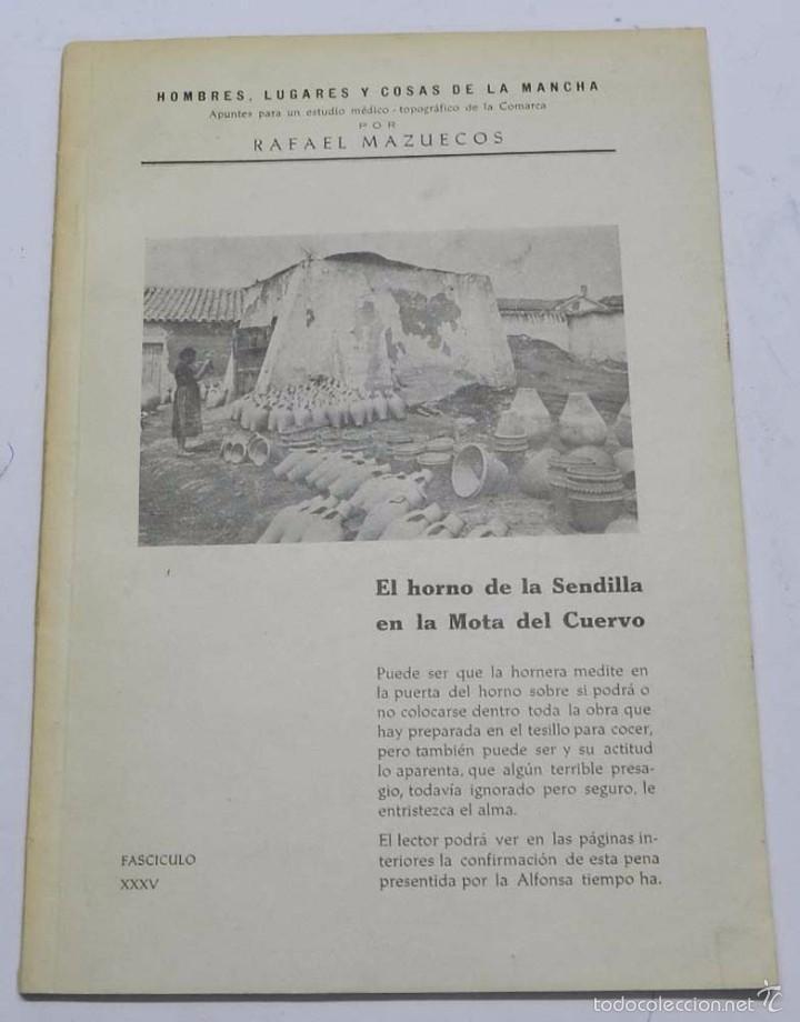 HOMBRES, LUGARES Y COSAS DE LA MANCHA, DEDICADO A LA ALFARERIA MANCHEGA, POR RAFAEL MAZUECOS, HORNO (Postales - España - Castilla La Mancha Antigua (hasta 1939))