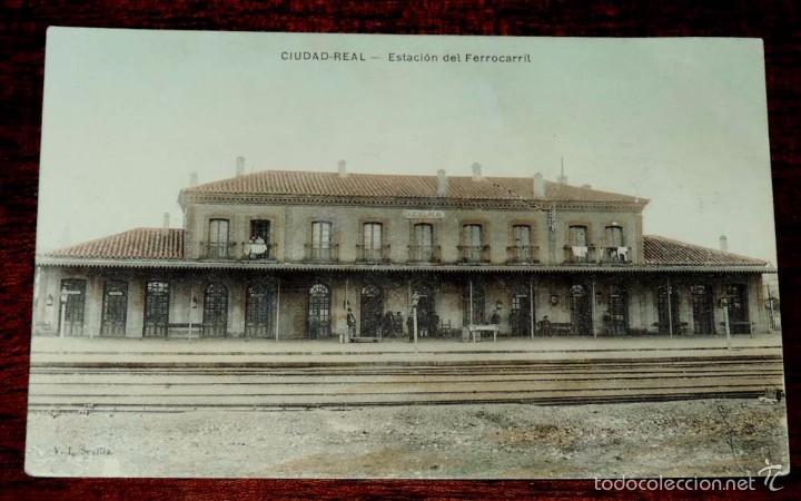 POSTAL DE CIUDAD REAL, ESTACION DEL FERROCARRIL, ED. V.L. SEVILLA, NO CIRCULADA. (Postales - España - Castilla La Mancha Antigua (hasta 1939))