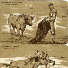 Postales: TALAVERA DE LA REINA (TOLEDO). 2 POSTALES DIBUJADAS POR RUANO LLOPIS DE LA COGIDA DE JOSELITO EN... . Lote 58119643