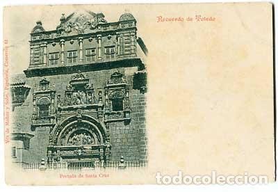 TOLEDO RECUERDO. PORTADA DE SANTA CRUZ. ED. VDA. DE MUÑOZ Y SOB. . REVERSO SIN DIVIDIR. SIGLO XIX (Postales - España - Castilla La Mancha Antigua (hasta 1939))