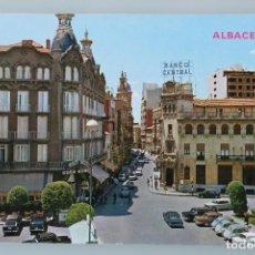 Postales: ANTIGUA POSTAL ALBACETE: PLAZA DEL CAUDILLO Y CALLE MARQUES DE MOLINS – AÑOS 60 - SIN CIRCULAR –. Lote 84927244