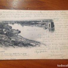 Postales: ANTIGUA POSTAL EL TAJO Y EL BAÑO DE LA CAVA TOLEDO HAUSER Y MENET MADRID. Lote 93288600