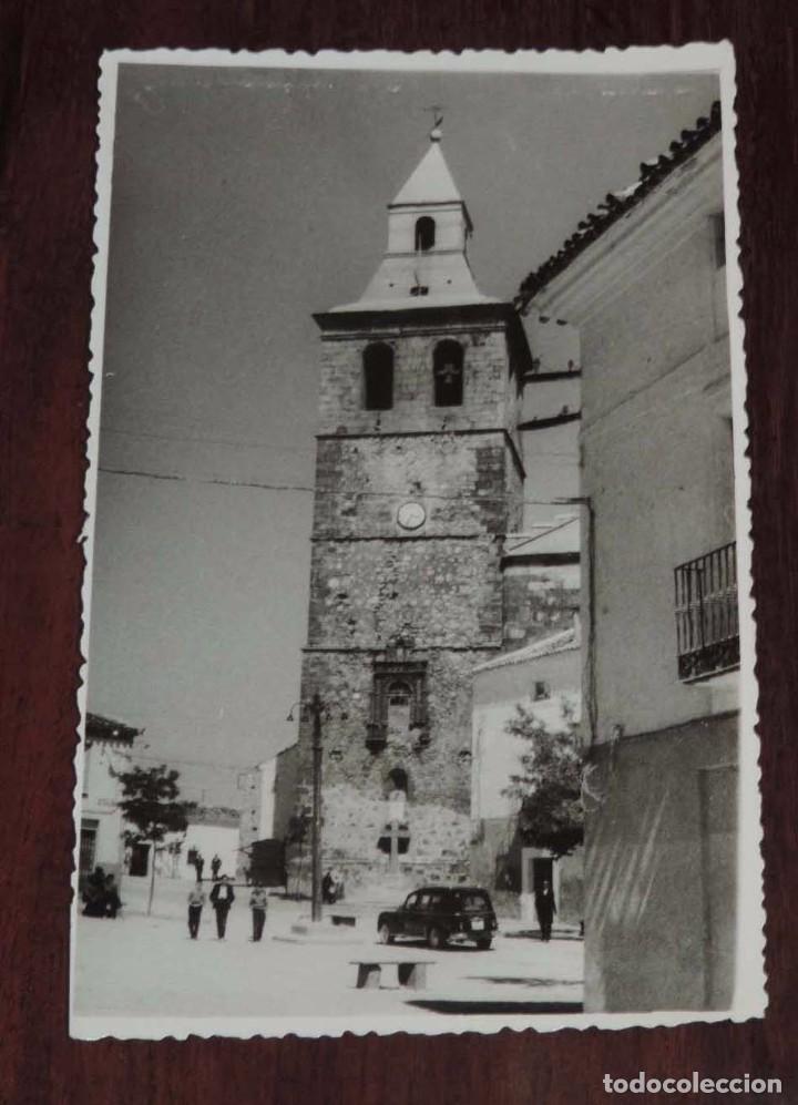 FOTOGRAFIA DE EL BONILLO (ALBACETE) TORRE DE LA IGLESIA PARROQUIAL DE SANTA CATALINA, MIDE 13,8 X 8, (Postales - España - Castilla La Mancha Antigua (hasta 1939))