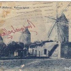 Postales: POSTAL MANACOR - PALMA DE MALLORCA 20- MOLINOS ED THOMAS AÑO 1937 CIRCULADA CON CENSURA PALMA DORSO. Lote 106945263