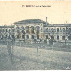 Postales: POSTAL 85 - TOLEDO - LA ESTACIÓN DE TREN - GRAFOS - MADRID - PUBLICIDAD HARINAS, MAZAPÁN Y CARAMELOS. Lote 109394623