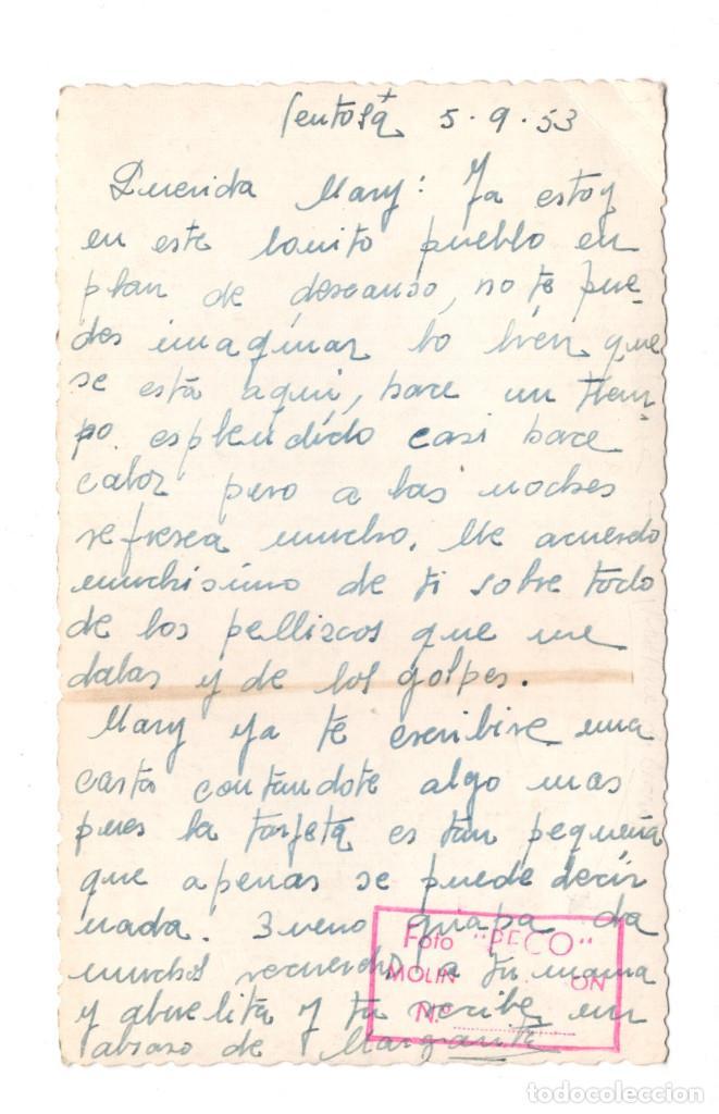 Postales: POSTAL FOTOGRÁFICA MOLINA DE ARAGÓN BARRANCO DE LA HOZ FOTO PECO - 1953 - Foto 2 - 113267103