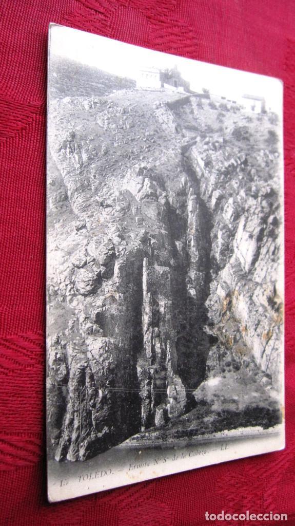 POSTAL TOLEDO: HERMITA DE NTRA.SRA. DE LA CABEZA. PROPAGANDA SASTRERIA ANGEL CANTOS CON FONDO VERDE (Postales - España - Castilla la Mancha Moderna (desde 1940))