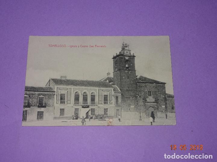 TARJETA POSTAL DE TOMELLOSO - IGLESIA Y CASINO SAN FERNANDO - FOT. L. SAUS (VANDERMAN) - AÑO 1930S. (Postales - España - Castilla La Mancha Antigua (hasta 1939))