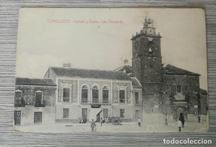 ANTIGUA Y BONITA POSTAL DE TOMELLOSO - IGLESIA Y CASINO SAN FERNANDO - FOTO LUIS SAUS VANDERMAN - CI (Postales - España - Castilla La Mancha Antigua (hasta 1939))