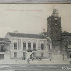 Postales: ANTIGUA Y BONITA POSTAL DE TOMELLOSO - IGLESIA Y CASINO SAN FERNANDO - FOTO LUIS SAUS VANDERMAN - CI. Lote 131829694