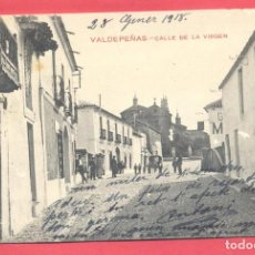 Postales: VALDEPEÑAS(C.R.) CALLE DE LA VIRGEN,CIRCULADA 1918 CON SELLO, REVERSO FOTOT.CASTAÑEIRA Y A.VER FOTOS. Lote 142362170