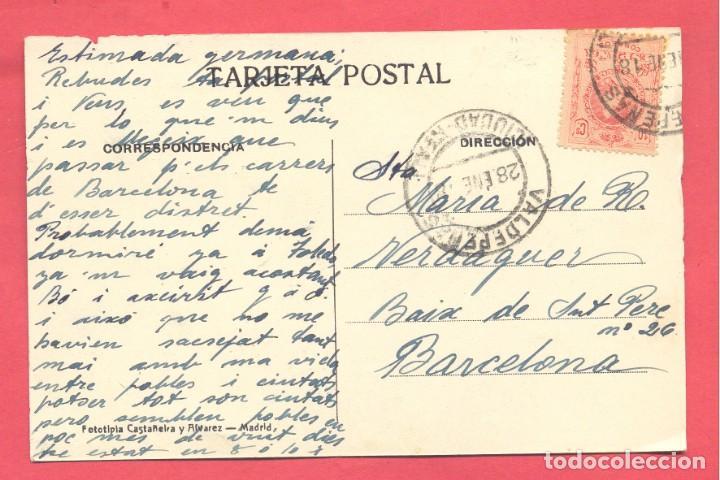Postales: valdepeñas(c.r.) calle de la virgen,circulada 1918 con sello, reverso fotot.castañeira y a.ver fotos - Foto 2 - 142362170