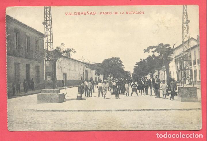 VALDEPEÑAS(C.R.) PASEO DE LA ESTACION, ESCRITA EN REVERSO, FOTOTIPIA CASTAÑEIRA Y ALVAREZ, VER FOTOS (Postales - España - Castilla La Mancha Antigua (hasta 1939))