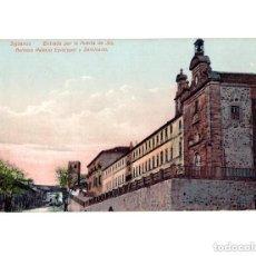 Postales: SIGÜENZA.(GUADALAJARA).- ENTRADA POR LA PUERTA DE STA BARBARA PALACIO EPISCOPAL Y SEMINARIO. Lote 147649398