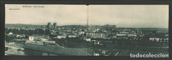 SIGÜENZA-VISTA PANORAMICA-DOBLE-POSTAL ANTIGUA-(57.135) (Postales - España - Castilla La Mancha Antigua (hasta 1939))