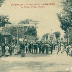 Postales: ALBACETE LA FERIA PASEO CENTRAL.BAZAR COLLADO. HACIA 1920. MUY RARA.. Lote 152449642