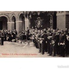 Postales: GUADALAJARA.- S.M. EL REY EN LA ACADEMIA DE INGENIEROS. Lote 154611882