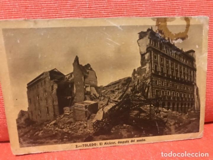 POSTAL TOLEDO EL ALCAZAR DESPUÉS DEL ASEDIO N 2 SIN CIRCULAR ALGO DE BRILLO HELITOPIA ARTISTICA ESPA (Postales - España - Castilla La Mancha Antigua (hasta 1939))