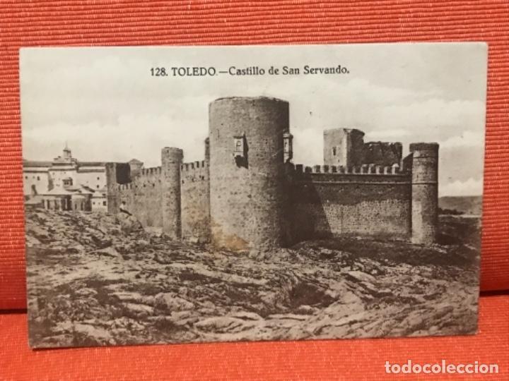 TOLEDO FOT CASIANO ALGUACIL CASTILLO DE SAN SERVANDO REVERSO PUBLICIDAD TOLEDO CASA AGAUDO 1900 (Postales - España - Castilla La Mancha Antigua (hasta 1939))