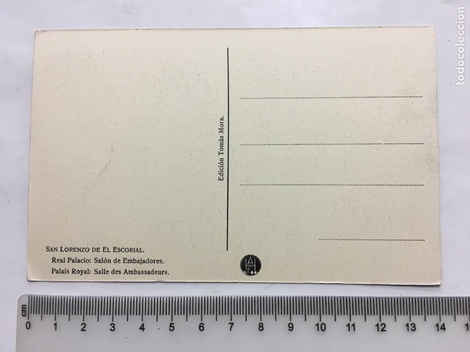 Postales: POSTAL. S. LORENZO DEL ESCORIAL. REAL PALACIO. SALÓN DE EMBAJADORES. EDIC. TOMAS MORA. H. 1920?. - Foto 2 - 160575570